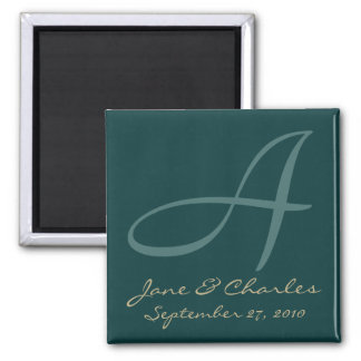Teal & Ecru Monogram • Save the Date Magnet