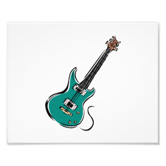 teal electric guitar music graphic.png photographic print