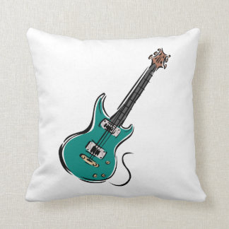 teal electric guitar music graphic.png throw pillow