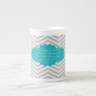 Teal elegant Jane Austen bone china mug