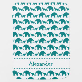 Teal Elephant Silhouette Personalized name blanket