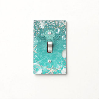 Teal Enchanted Sea Starfish & Bubbles Ocean Beach Light Switch Cover