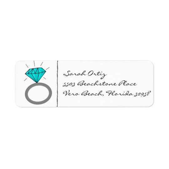 Teal Engagement Ring Address Labels