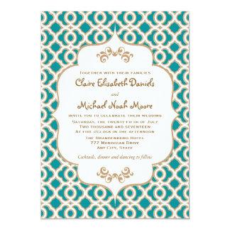 Teal et invitations marocaines de mariage d'or carton d'invitation  12,7 cm x 17,78 cm