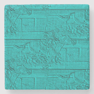 Teal Etched Look Horse Racing Silhouette Stone Coaster