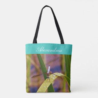 Teal eyes Dragonfly   w/ Name Tote Bag