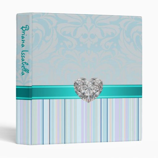 Teal Fanciful Faux Jewel Baby Album Binder