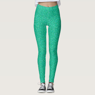 Teal Faux Glitter Leggings