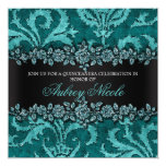 """Teal Faux Glitter & Velvet Floral Quinceanera 5.25"""" Square Invitation Card"""
