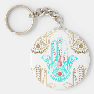 Teal faux gold watercolor Hamsa Hand of Fatima Basic Round Button Keychain