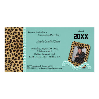 Teal Faux Leopard And Matching Pearls Invitation Personalized Photo Card
