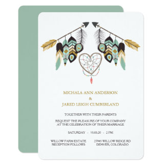 Teal Feather Arrow Dreamcatcher Wedding Card