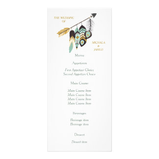 Teal Feather Arrow Wedding Menu Rack Card Design