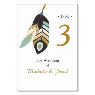 Teal Feather Wedding Table Card