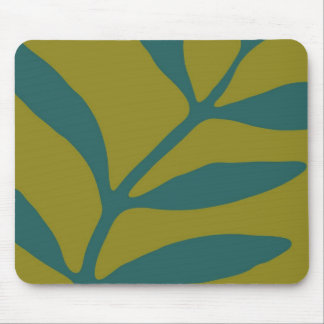 Teal Fern on Slate Mouse Pad