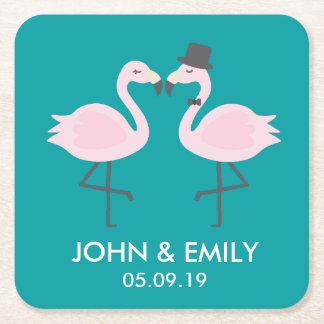 Teal Flamingo Bride & Groom Personalized Coasters