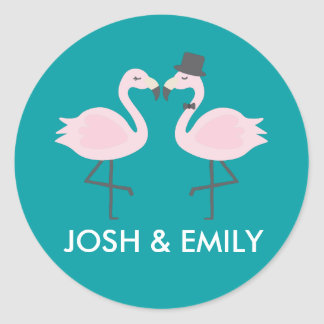 Teal Flamingo Wedding Bride & Groom Pair Classic Round Sticker