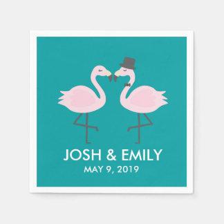 Teal Flamingo Wedding Bride & Groom Pair Paper Napkins