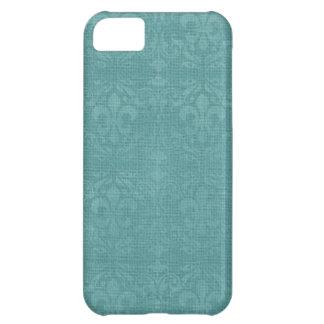 Teal  Fleur De Lis Damask iPhone 5C Cases