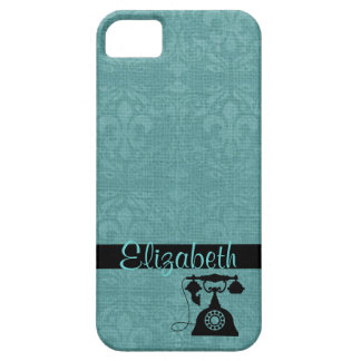 Teal  Fleur De Lis Damask with Antique Telephone iPhone 5 Cases