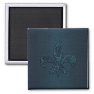 Teal Fleur de Lis Square Magnet