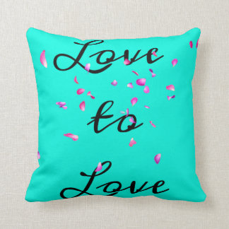 Teal Floating Flower Petals Throw Pillow
