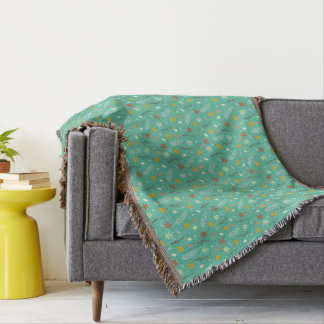 Teal Floral Botanical Pattern Throw Blanket