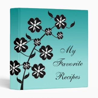 Teal Floral Burst Recipe Book 3 Ring Binder