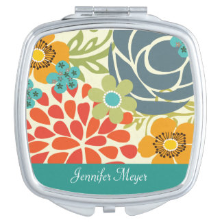 Teal Floral Garden Personalized Compact Mirror