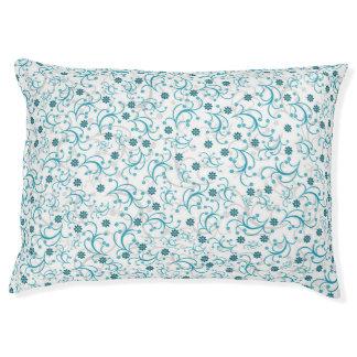 Teal Floral Large Dog Bed