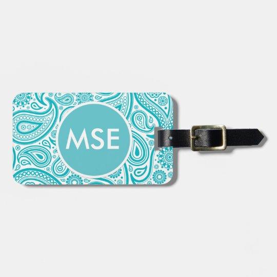 Teal Floral Paisley Monogram Pattern Bag Tag