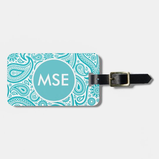 Teal Floral Paisley Monogram Pattern Luggage Tag