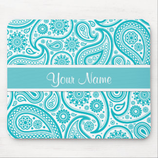 Teal Floral Paisley Monogram Pattern Mouse Pad