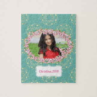 Teal Floral Pattern Personalized Framed Photo Jigsaw Puzzle