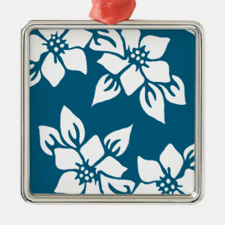 Teal Floral Print Silver-Colored Square Ornament
