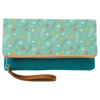 Teal Floral Red Pattern Clutch