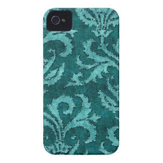 Teal Floral Sequin Glitter Velvet Look Case