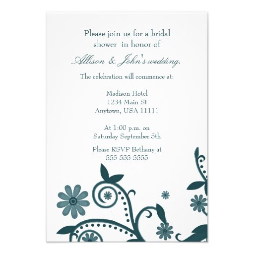 Teal Floral Swirls Bridal Shower Invitation