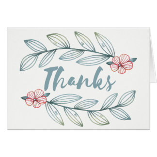 Teal Floral Thank You Laurel Leaves Red Flowers Card