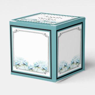Teal Floral Watercolor Wedding Favor Box