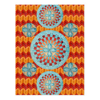 Teal Flower Orange Chevron Design Postcard