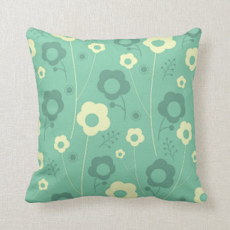 Teal flower pillow