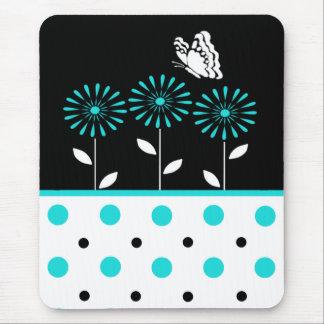 Teal Flowers and Polka Dot Mousepad