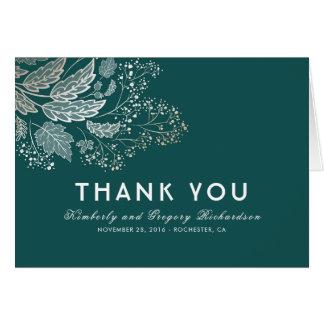 Teal Foliage Elegant Wedding Thank You Card