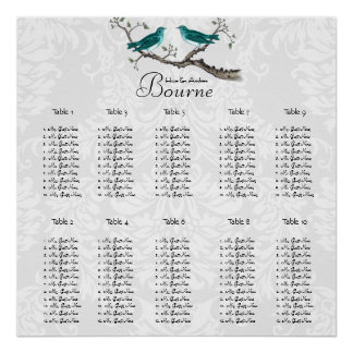 Teal Forest Love Bird Seating Chart