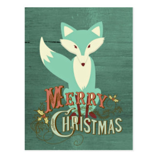 Teal Fox Merry Christmas Card