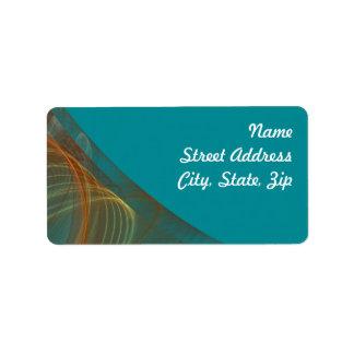 Teal Fractal Background Address Sticker