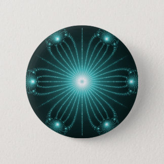Teal Fractal Flower Button pin