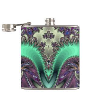 Teal fractal swirl Flask
