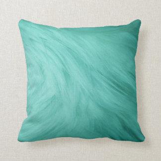 Teal Fur Print Pillow